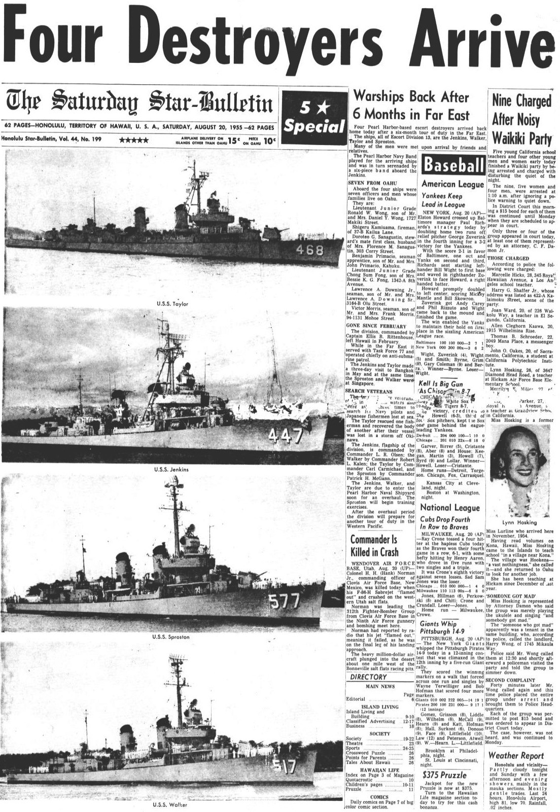 """Four Destroyers Arrive."" Article from the The Saturday Star-Bulletin - Saturday, August 20, 1955."